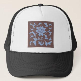 Oriental Flower - Serenity Blue & Chocolate Trucker Hat