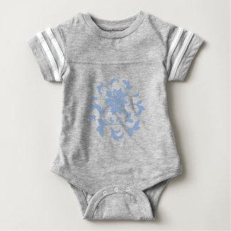 Oriental Flower - Serenity Blue Circular Pattern Baby Bodysuit