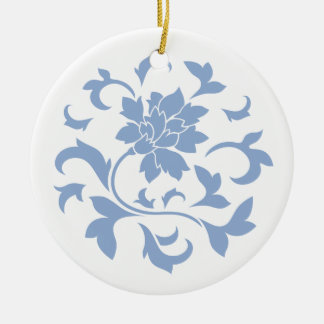 Oriental Flower - Serenity Blue Circular Pattern Ceramic Ornament