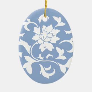 Oriental Flower - Serenity Blue Circular Pattern Ceramic Oval Decoration