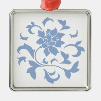 Oriental Flower - Serenity Blue Circular Pattern Metal Ornament