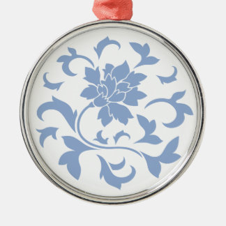 Oriental Flower - Serenity Blue Circular Pattern Silver-Colored Round Decoration