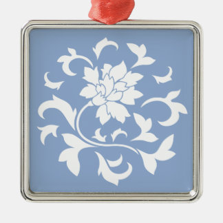 Oriental Flower - Serenity Blue Circular Pattern Silver-Colored Square Decoration