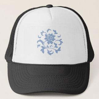 Oriental Flower - Serenity Blue Circular Pattern Trucker Hat