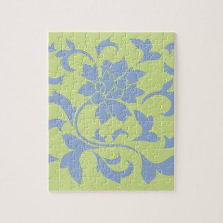 Oriental Flower - Serenity Blue & Daiquiri Green Jigsaw Puzzle
