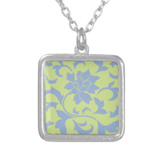 Oriental Flower - Serenity Blue & Daiquiri Green Silver Plated Necklace
