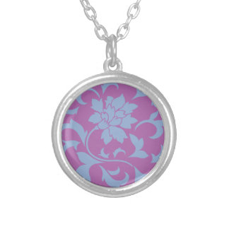 Oriental Flower - Serenity Blue & Radiant Orchid Silver Plated Necklace