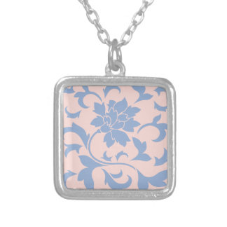 Oriental Flower - Serenity Blue & Rose Quartz Silver Plated Necklace