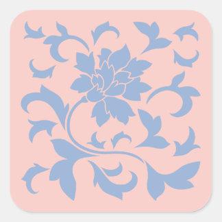 Oriental Flower - Serenity Blue & Rose Quartz Square Sticker
