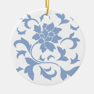 Oriental Flower - Serenity Blue Round Ceramic Decoration