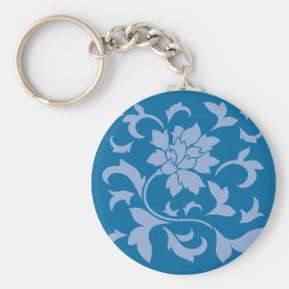 Oriental Flower - Serenity Blue & Snorkel Blue Basic Round Button Key Ring