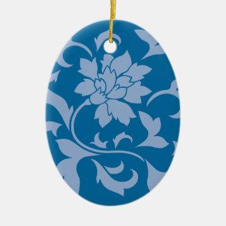 Oriental Flower - Serenity Blue & Snorkel Blue Ceramic Oval Decoration