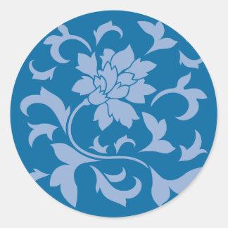 Oriental Flower - Serenity Blue & Snorkel Blue Classic Round Sticker