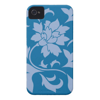 Oriental Flower - Serenity Blue & Snorkel Blue iPhone 4 Case-Mate Cases