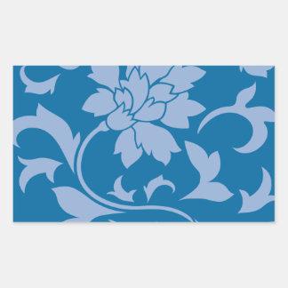 Oriental Flower - Serenity Blue & Snorkel Blue Rectangular Sticker