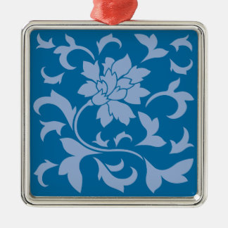 Oriental Flower - Serenity Blue & Snorkel Blue Silver-Colored Square Decoration