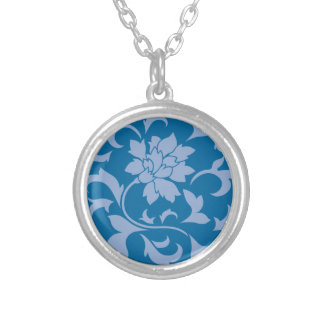 Oriental Flower - Serenity Blue & Snorkel Blue Silver Plated Necklace