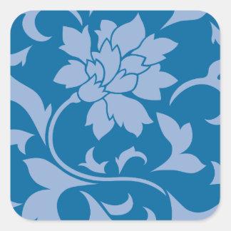 Oriental Flower - Serenity Blue & Snorkel Blue Square Sticker