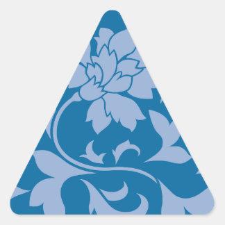Oriental Flower - Serenity Blue & Snorkel Blue Triangle Sticker