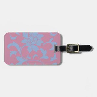 Oriental Flower - Serenity Blue & Strawberry Luggage Tag