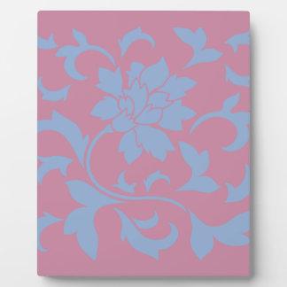 Oriental Flower - Serenity Blue & Strawberry Plaque
