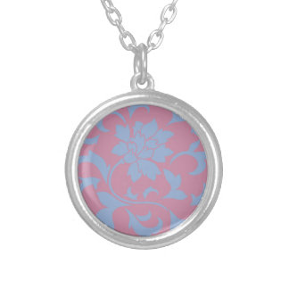 Oriental Flower - Serenity Blue & Strawberry Silver Plated Necklace