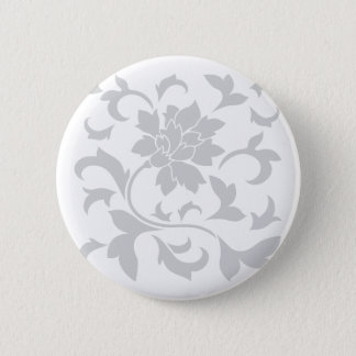 Oriental Flower - Silver 6 Cm Round Badge