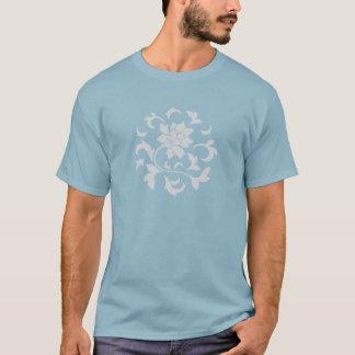 Oriental Flower - Silver Circular Pattern T-Shirt