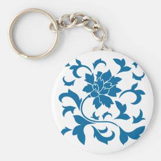 Oriental Flower - Snorkel Blue Basic Round Button Key Ring