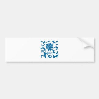 Oriental Flower - Snorkel Blue Bumper Sticker