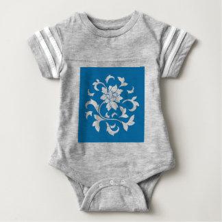 Oriental Flower - Snorkel Blue Circular Pattern Baby Bodysuit