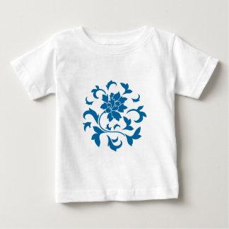 Oriental Flower - Snorkel Blue Circular Pattern Baby T-Shirt