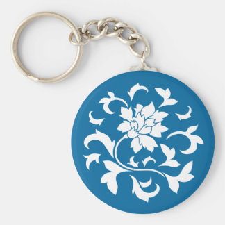 Oriental Flower - Snorkel Blue Circular Pattern Basic Round Button Key Ring