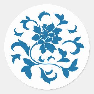 Oriental Flower - Snorkel Blue Circular Pattern Classic Round Sticker