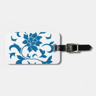 Oriental Flower - Snorkel Blue Circular Pattern Luggage Tag