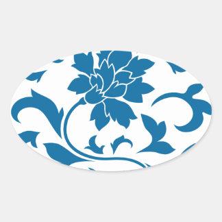 Oriental Flower - Snorkel Blue Circular Pattern Oval Sticker
