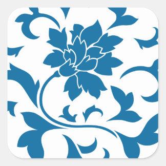 Oriental Flower - Snorkel Blue Circular Pattern Square Sticker