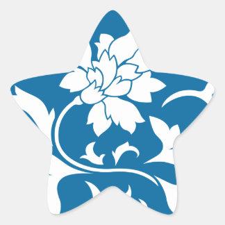 Oriental Flower - Snorkel Blue Circular Pattern Star Sticker