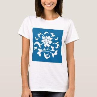Oriental Flower - Snorkel Blue Circular Pattern T-Shirt