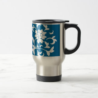 Oriental Flower - Snorkel Blue Circular Pattern Travel Mug
