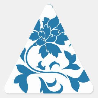 Oriental Flower - Snorkel Blue Circular Pattern Triangle Sticker