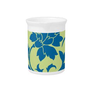 Oriental Flower - Snorkel Blue & Daiquiri Green Pitcher