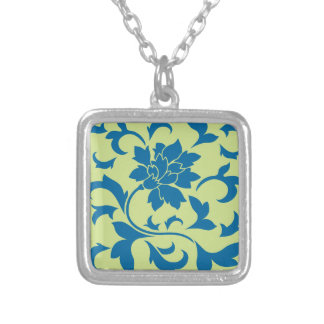 Oriental Flower - Snorkel Blue & Daiquiri Green Silver Plated Necklace
