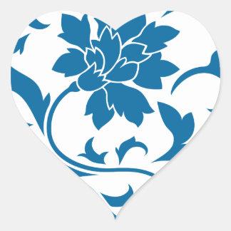 Oriental Flower - Snorkel Blue Heart Sticker