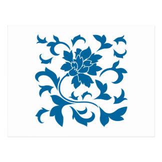 Oriental Flower - Snorkel Blue Postcard