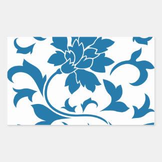 Oriental Flower - Snorkel Blue Rectangular Sticker