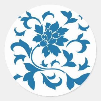Oriental Flower - Snorkel Blue Round Sticker