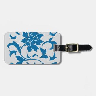 Oriental Flower - Snorkel Blue & Silver Luggage Tag