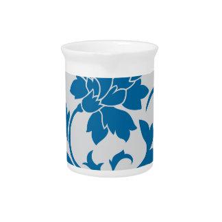 Oriental Flower - Snorkel Blue & Silver Pitcher