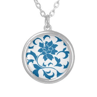 Oriental Flower - Snorkel Blue Silver Plated Necklace